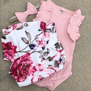 Other - Baby outfit shorts headband bow ruffle onesie